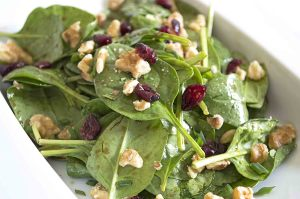 Maple Balsalmic Vinaigrette on a Baby Spinach Salad