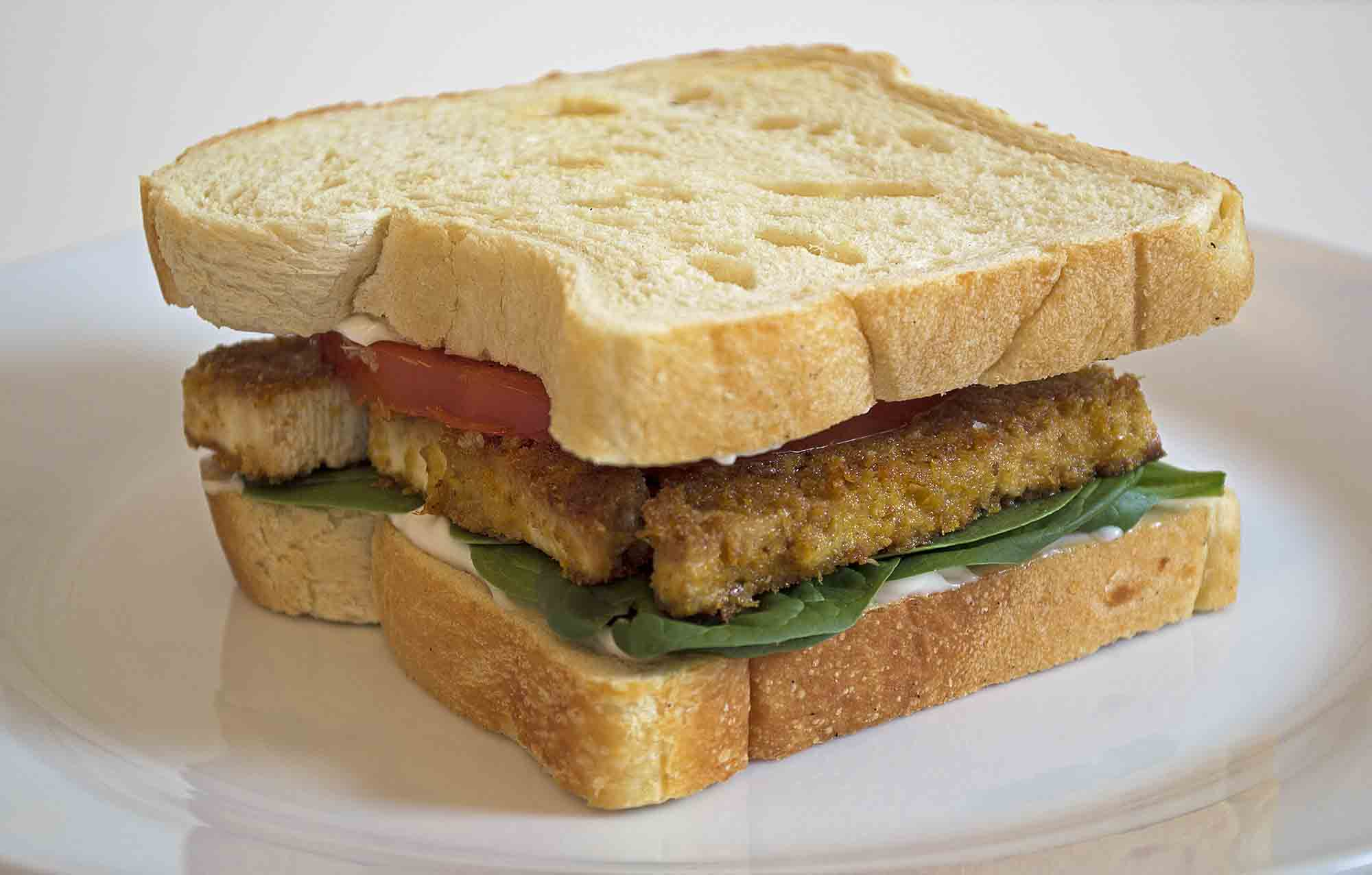 Fried Tofu Breakfast Sandwich