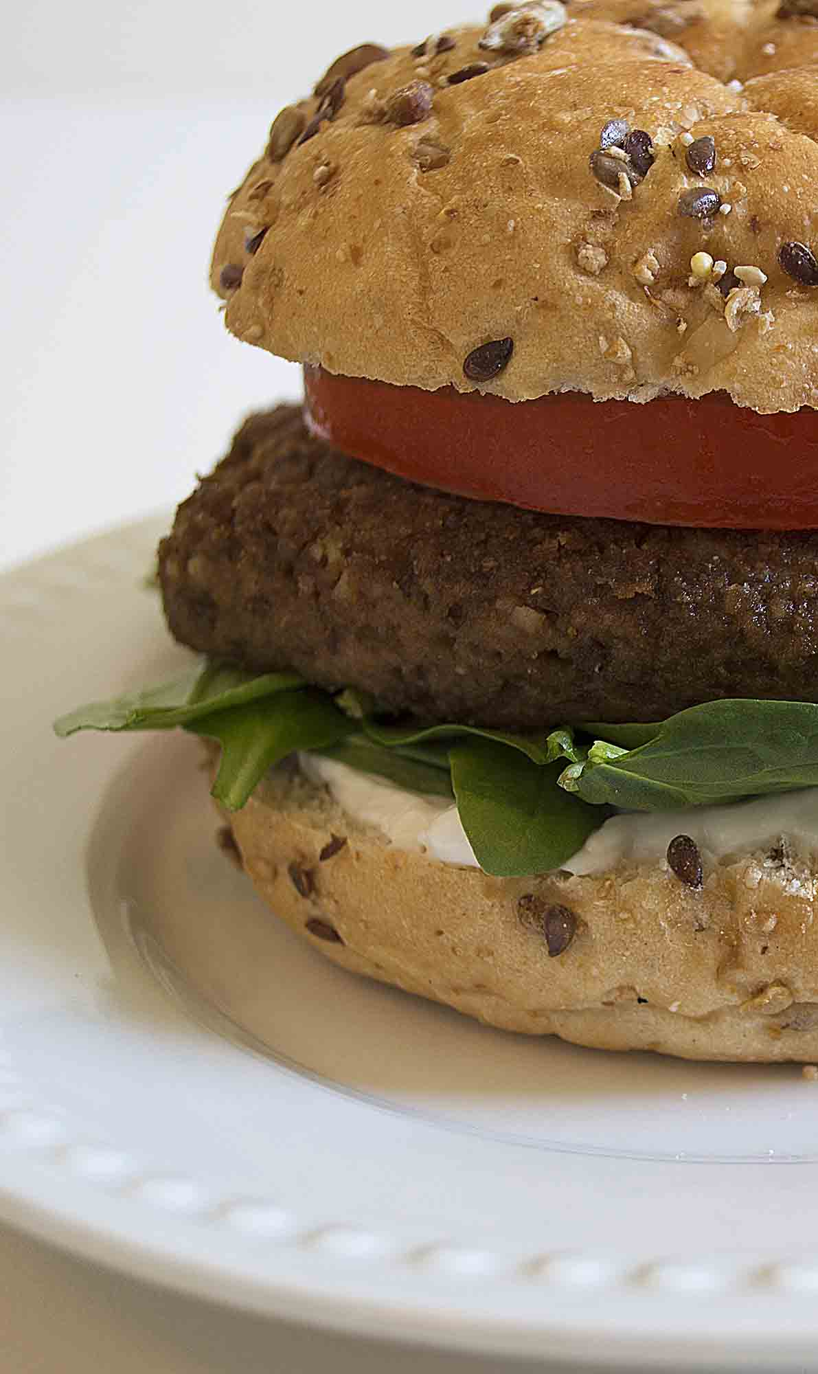 Easy Lentil Burgers close up