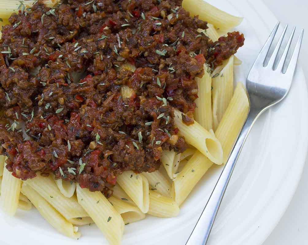 Fresh Vegan Bolognese Sauce and Pasta
